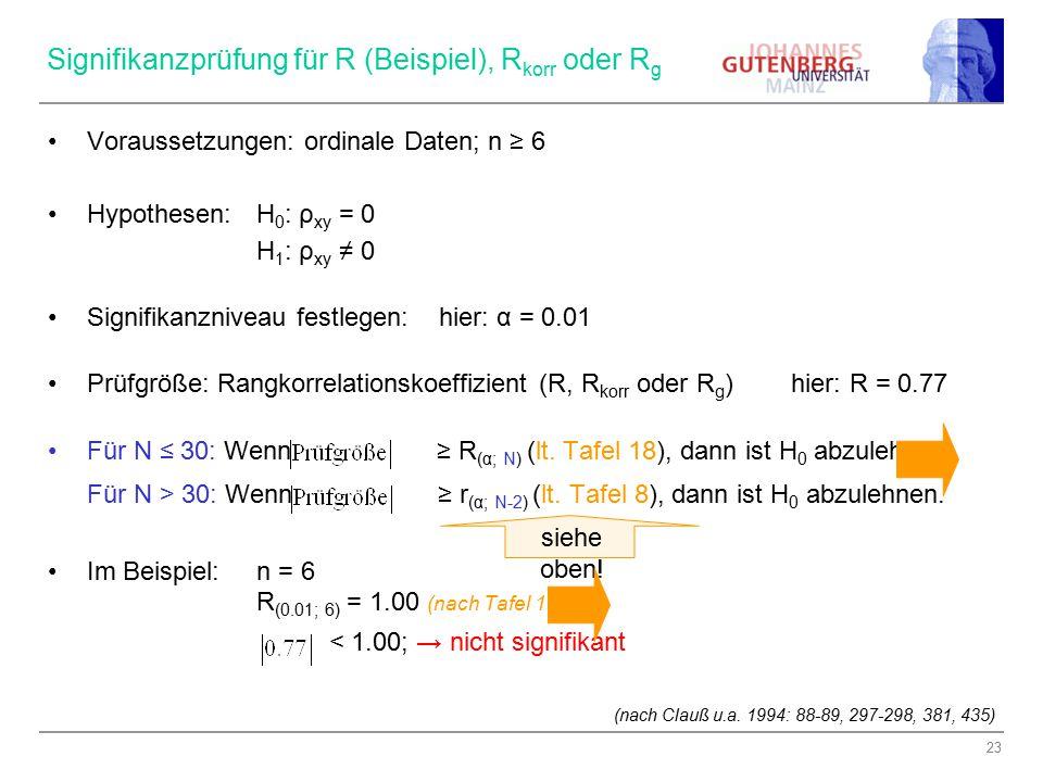 Signifikanzprüfung für R (Beispiel), Rkorr oder Rg
