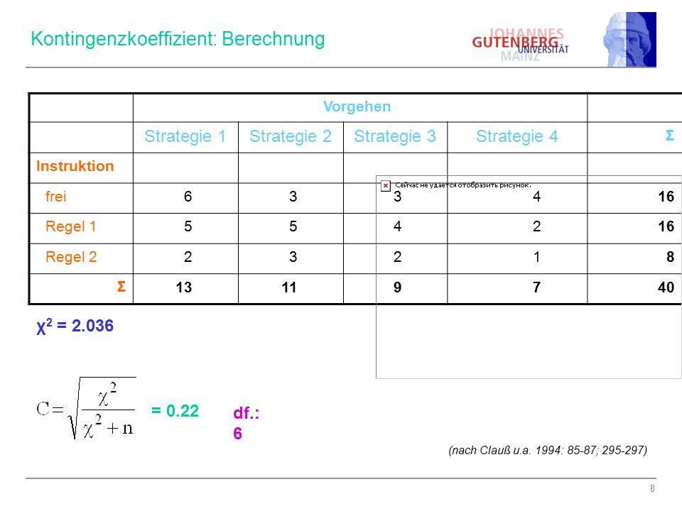 Kontingenzkoeffizient: Berechnung