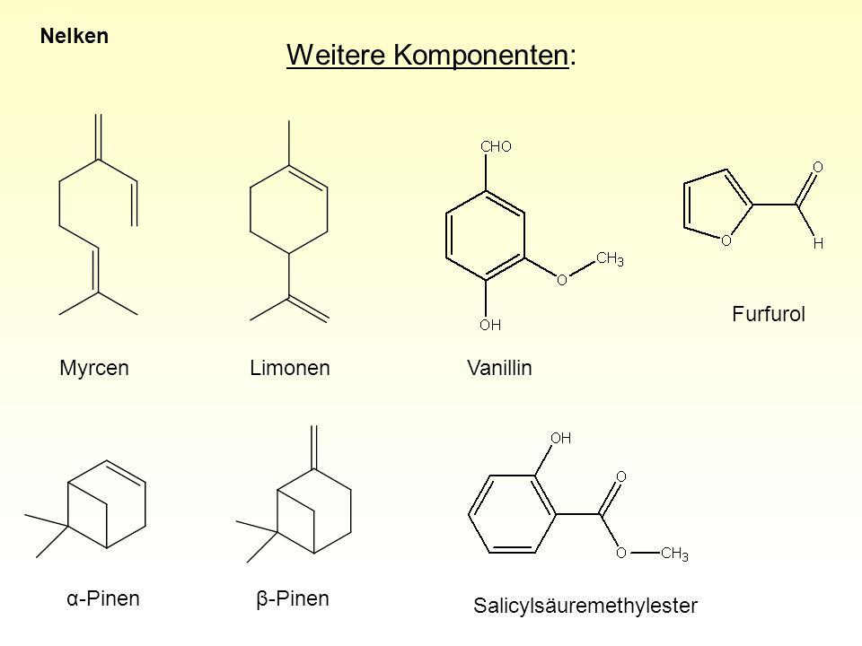 Weitere Komponenten: Nelken Furfurol Myrcen Limonen Vanillin α-Pinen