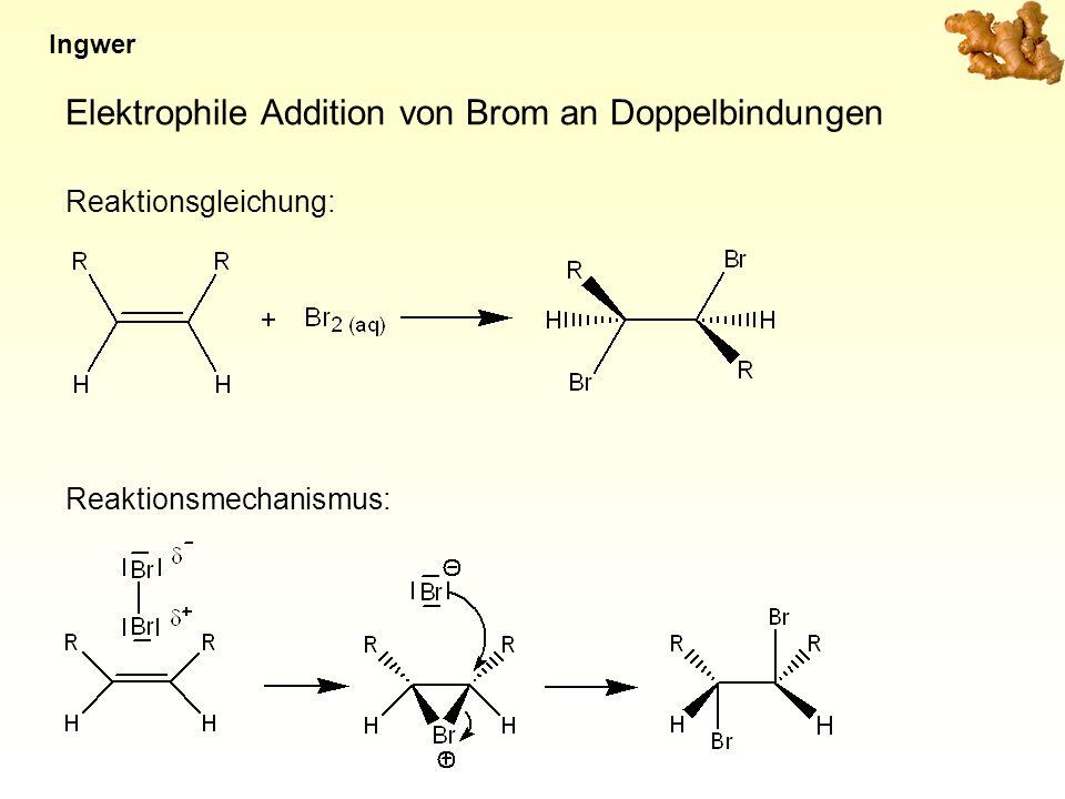 Elektrophile Addition von Brom an Doppelbindungen Reaktionsgleichung: