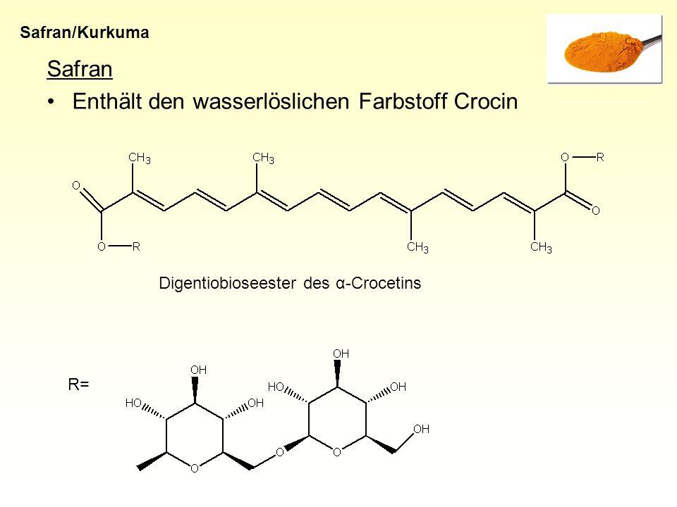Enthält den wasserlöslichen Farbstoff Crocin