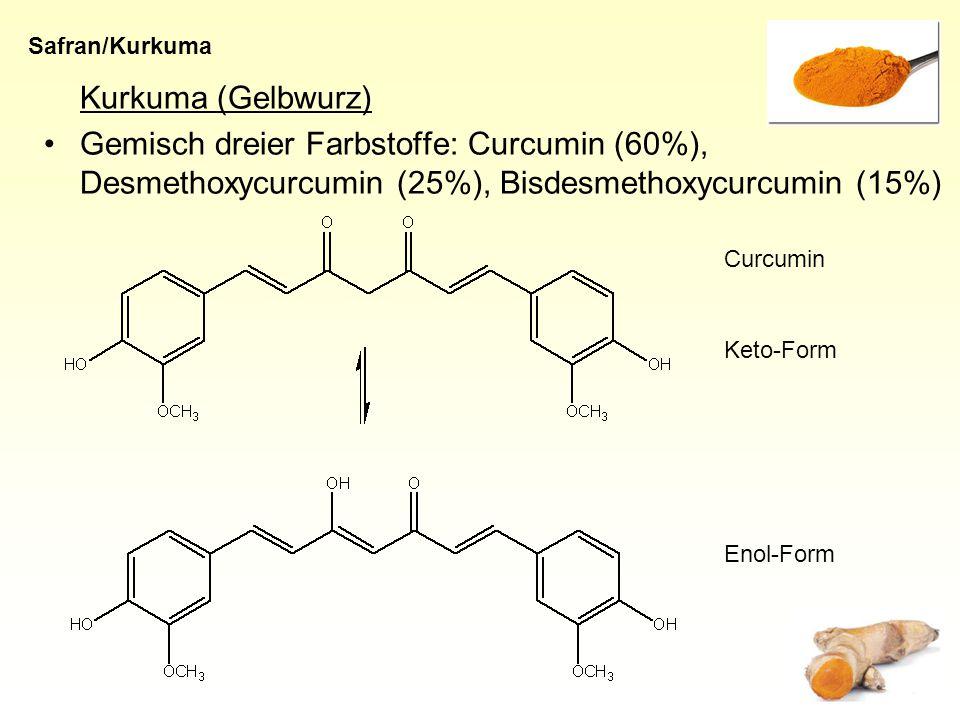 Safran/Kurkuma Kurkuma (Gelbwurz) Gemisch dreier Farbstoffe: Curcumin (60%), Desmethoxycurcumin (25%), Bisdesmethoxycurcumin (15%)