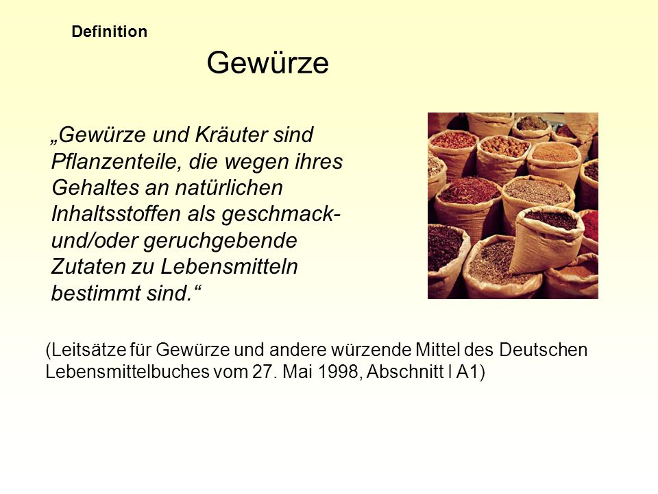 Definition Gewürze.