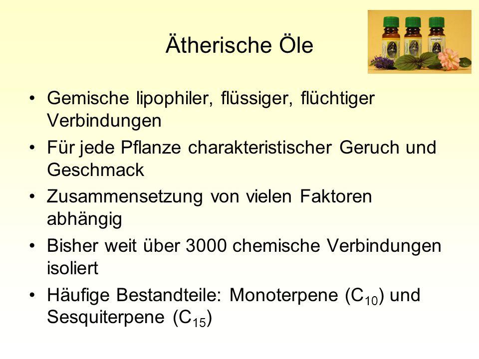 Ätherische Öle Gemische lipophiler, flüssiger, flüchtiger Verbindungen