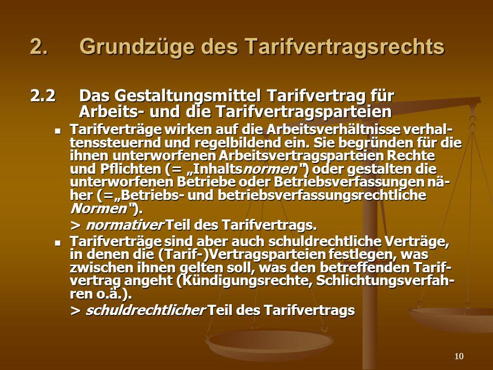 2. Grundzüge des Tarifvertragsrechts