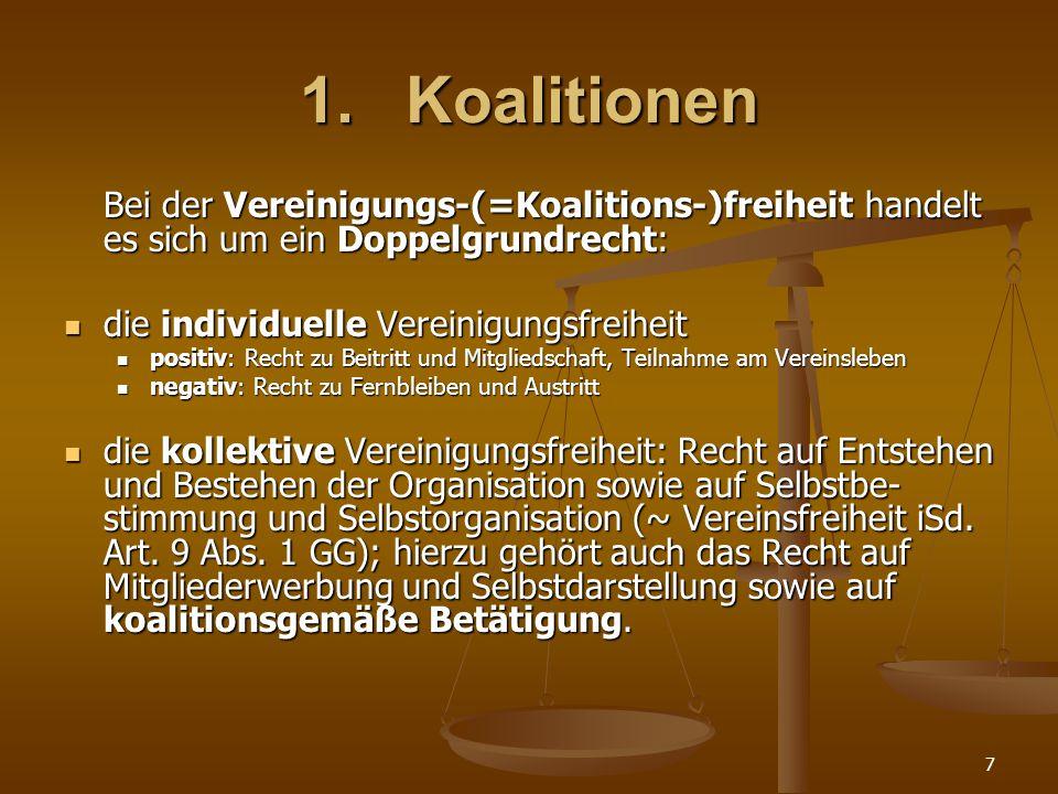 1. Koalitionen die individuelle Vereinigungsfreiheit