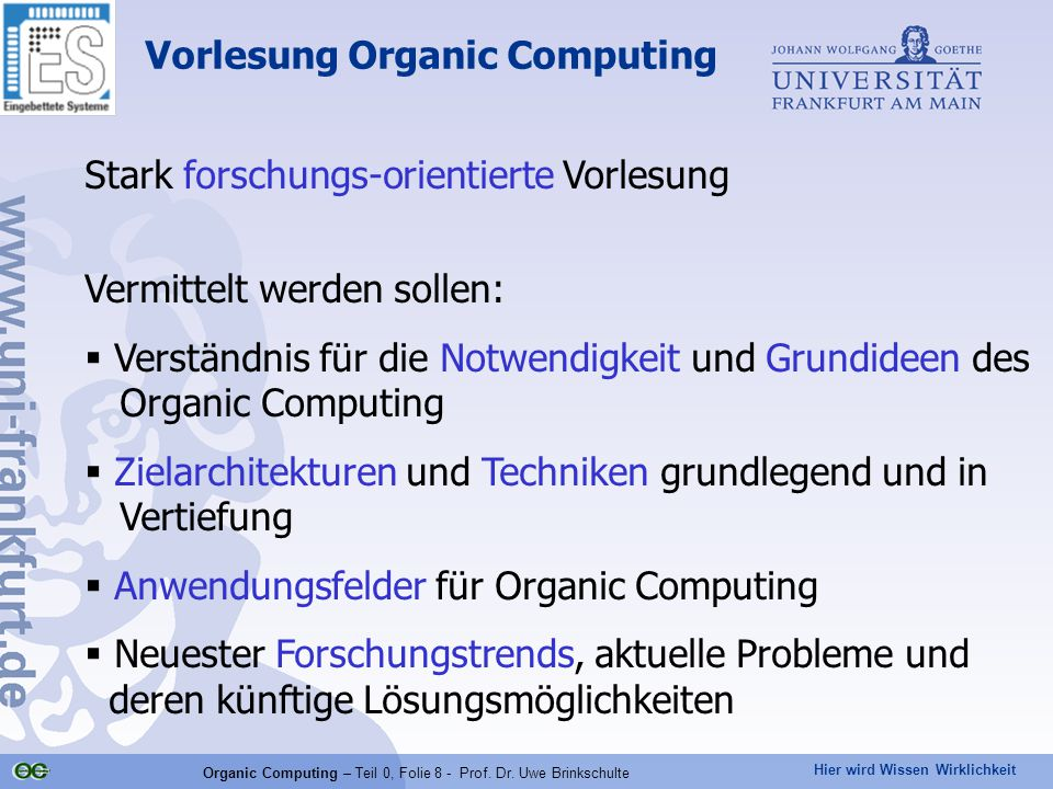 Vorlesung Organic Computing