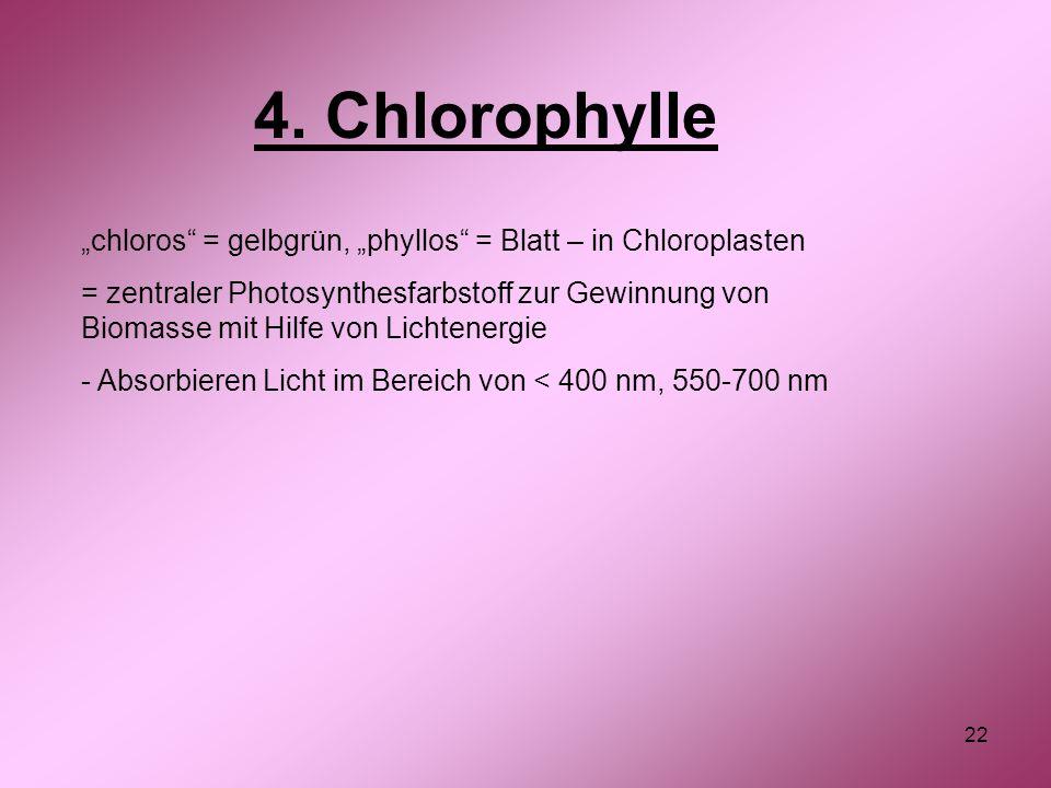 "4. Chlorophylle ""chloros = gelbgrün, ""phyllos = Blatt – in Chloroplasten."