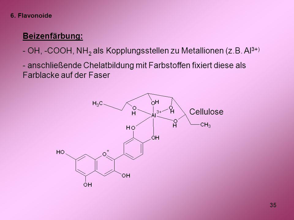 OH, -COOH, NH2 als Kopplungsstellen zu Metallionen (z.B. Al3+)