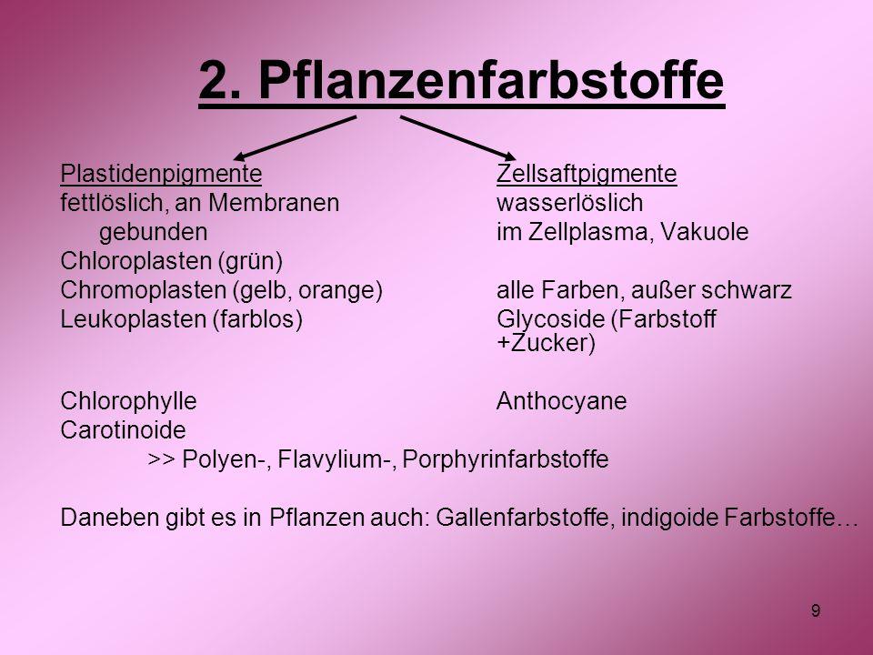 2. Pflanzenfarbstoffe Plastidenpigmente Zellsaftpigmente