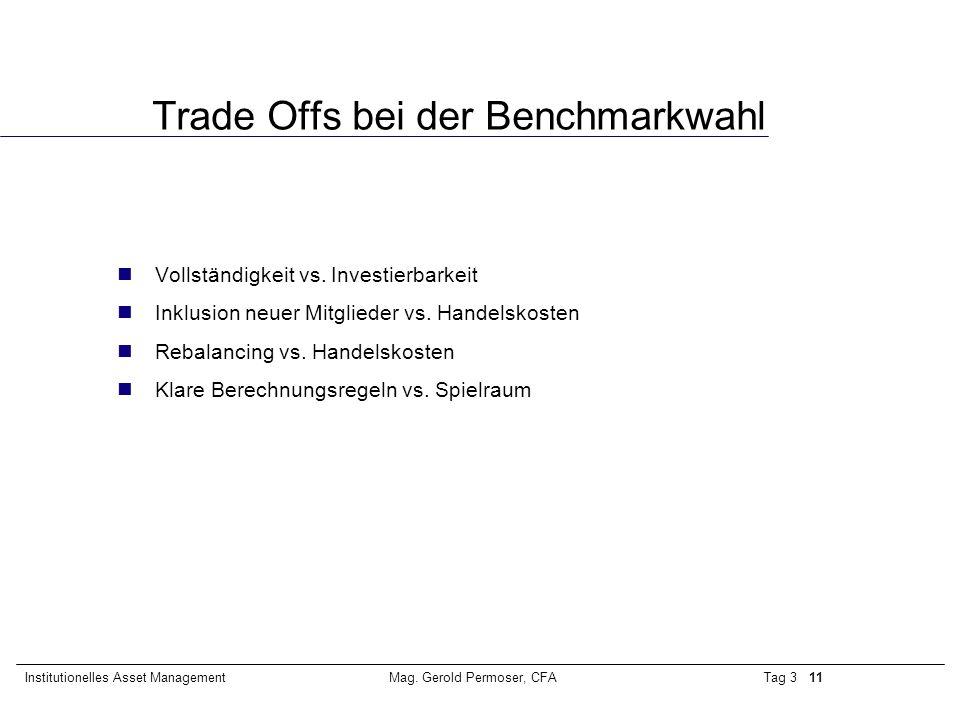 Trade Offs bei der Benchmarkwahl