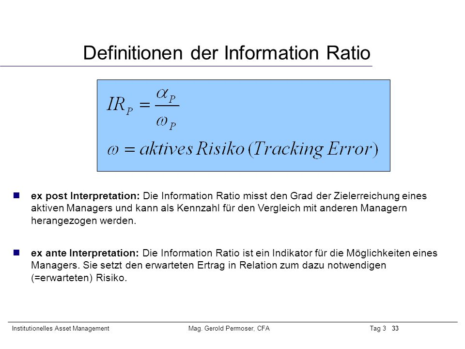 Definitionen der Information Ratio