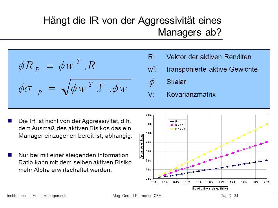 Hängt die IR von der Aggressivität eines Managers ab