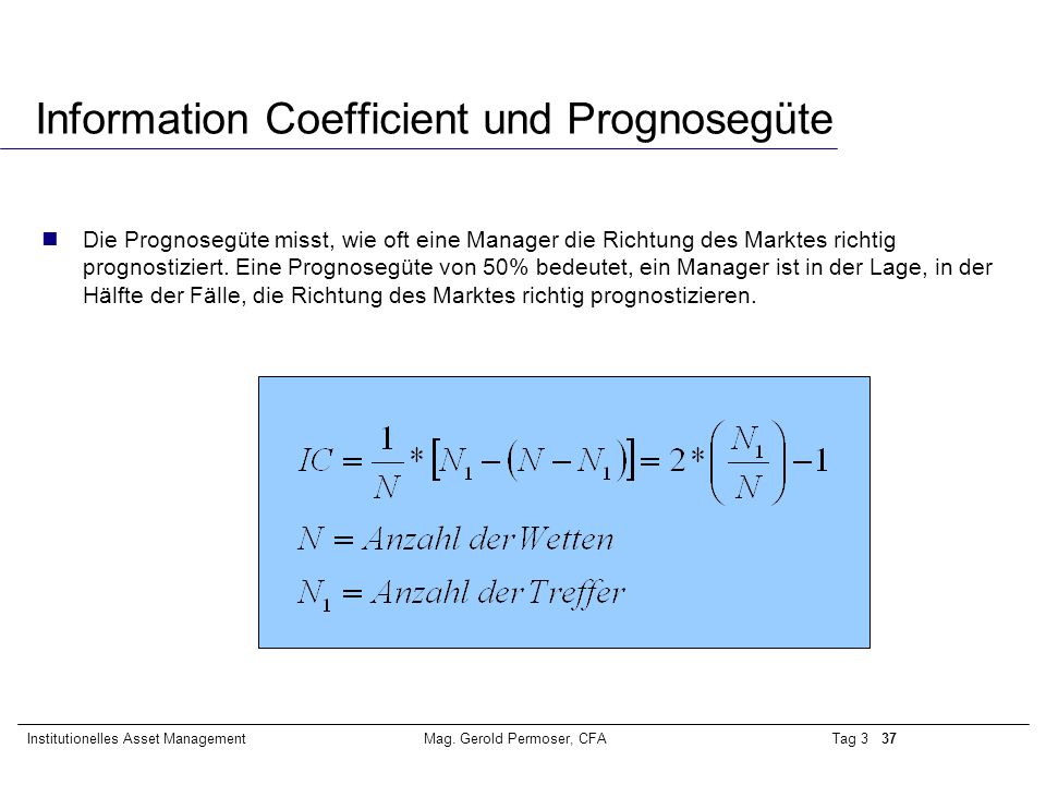 Information Coefficient und Prognosegüte