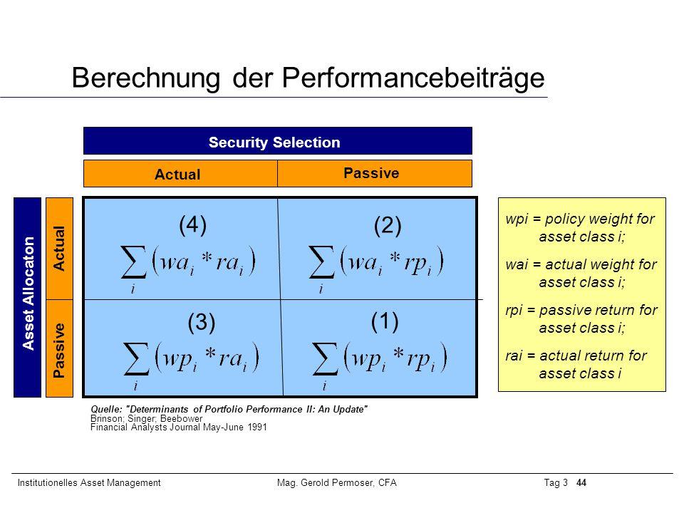 Berechnung der Performancebeiträge
