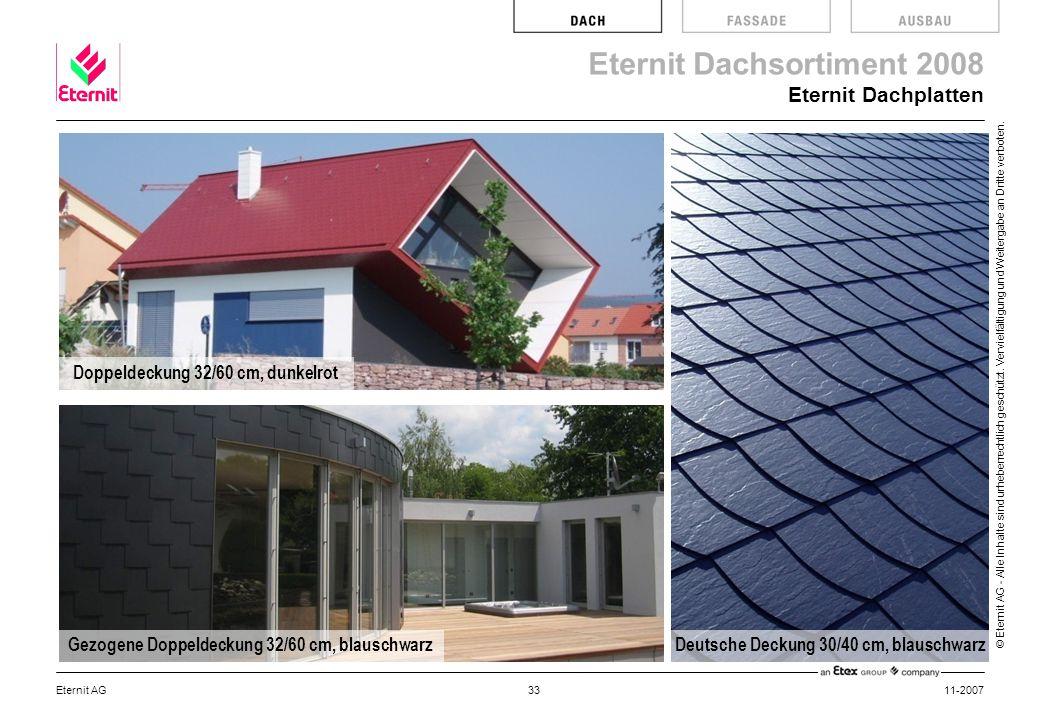 Eternit Dachplatten Doppeldeckung 32/60 cm, dunkelrot