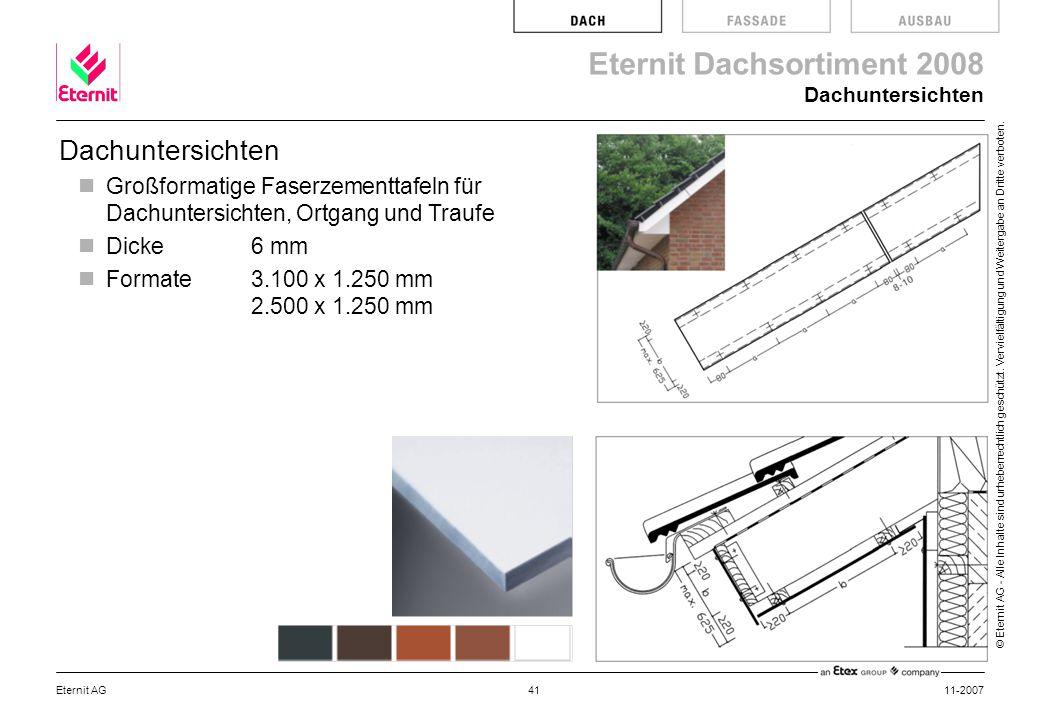 Dachuntersichten Dachuntersichten. Großformatige Faserzementtafeln für Dachuntersichten, Ortgang und Traufe.