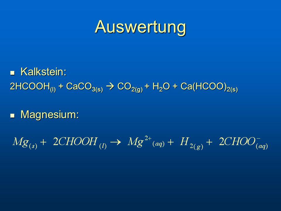 Auswertung Kalkstein: Magnesium: