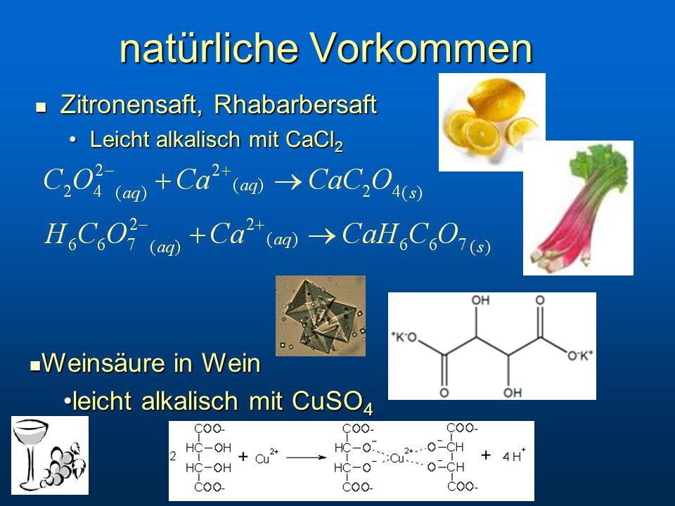 natürliche Vorkommen Zitronensaft, Rhabarbersaft Weinsäure in Wein