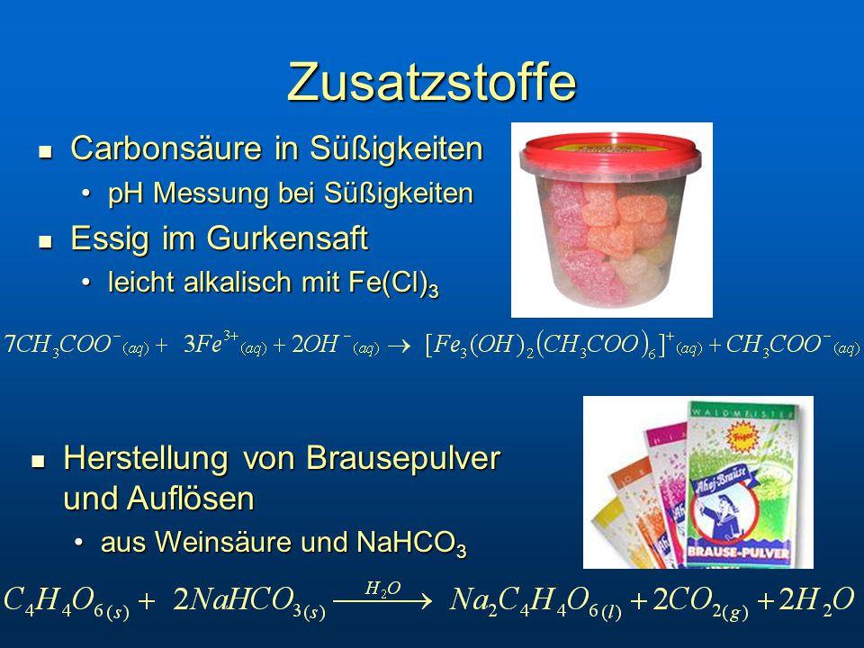 Zusatzstoffe Carbonsäure in Süßigkeiten Essig im Gurkensaft