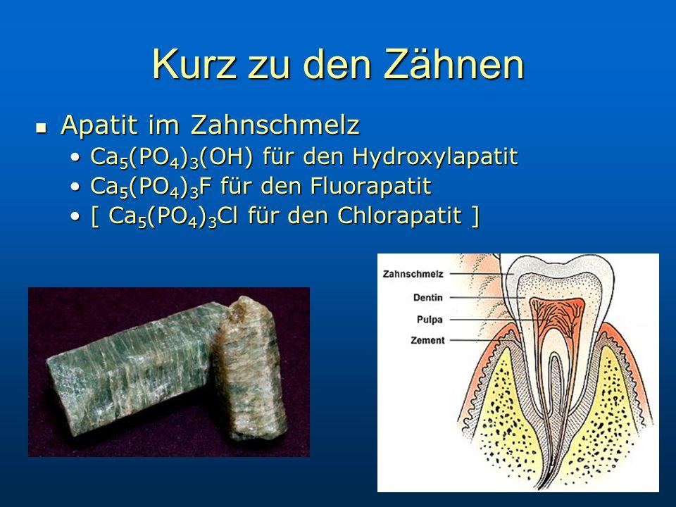 Kurz zu den Zähnen Apatit im Zahnschmelz