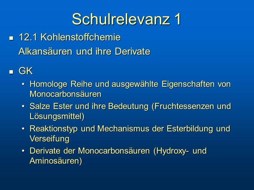 Schulrelevanz 1 12.1 Kohlenstoffchemie Alkansäuren und ihre Derivate