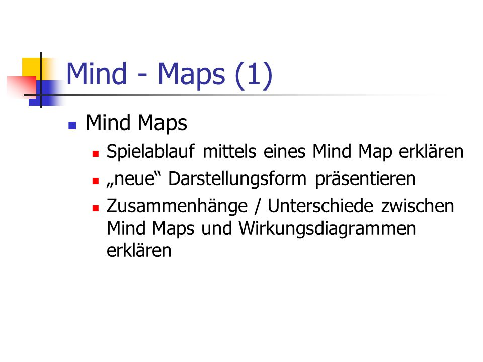 Mind - Maps (1) Mind Maps Spielablauf mittels eines Mind Map erklären
