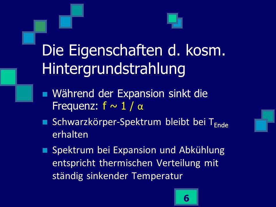 Die Eigenschaften d. kosm. Hintergrundstrahlung