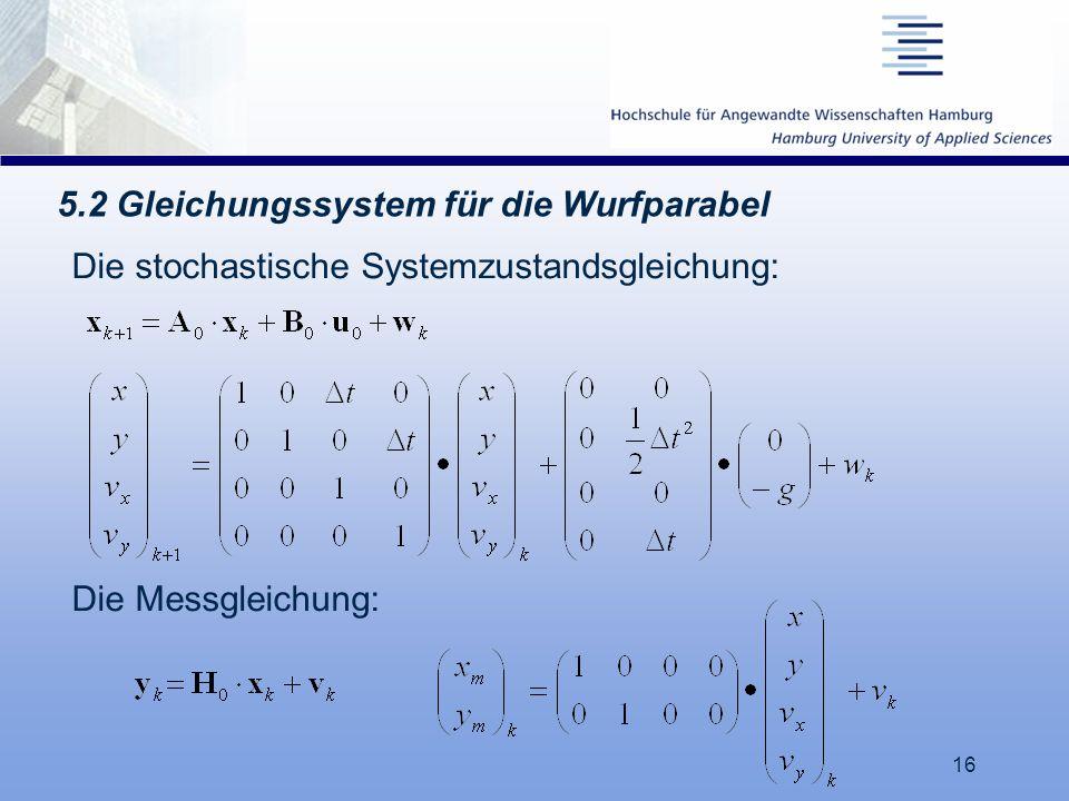 5.2 Gleichungssystem für die Wurfparabel