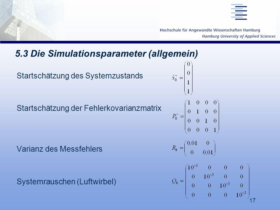 5.3 Die Simulationsparameter (allgemein)
