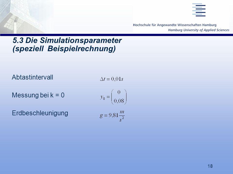 5.3 Die Simulationsparameter (speziell Beispielrechnung)