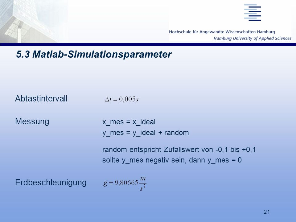 5.3 Matlab-Simulationsparameter