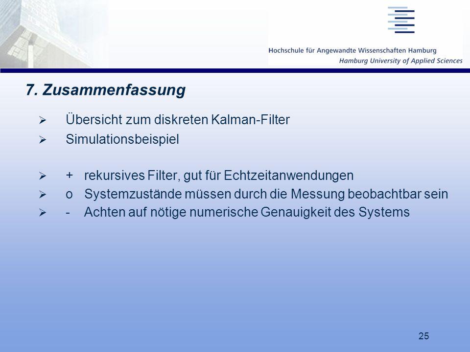 7. Zusammenfassung Übersicht zum diskreten Kalman-Filter