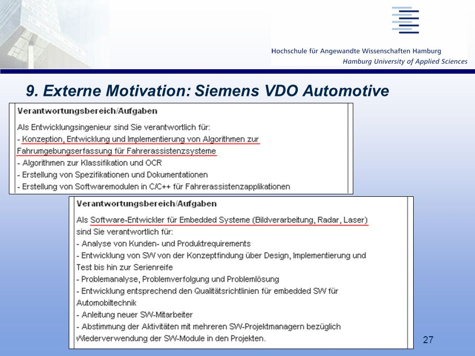 9. Externe Motivation: Siemens VDO Automotive
