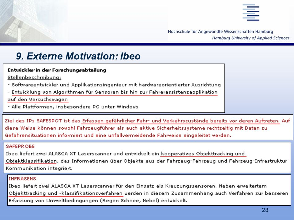 9. Externe Motivation: Ibeo