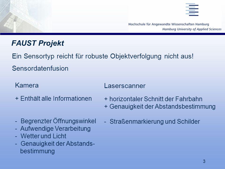 17.03.06 FAUST Projekt. Ein Sensortyp reicht für robuste Objektverfolgung nicht aus! Sensordatenfusion.