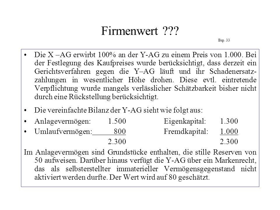 Firmenwert Bsp. 33