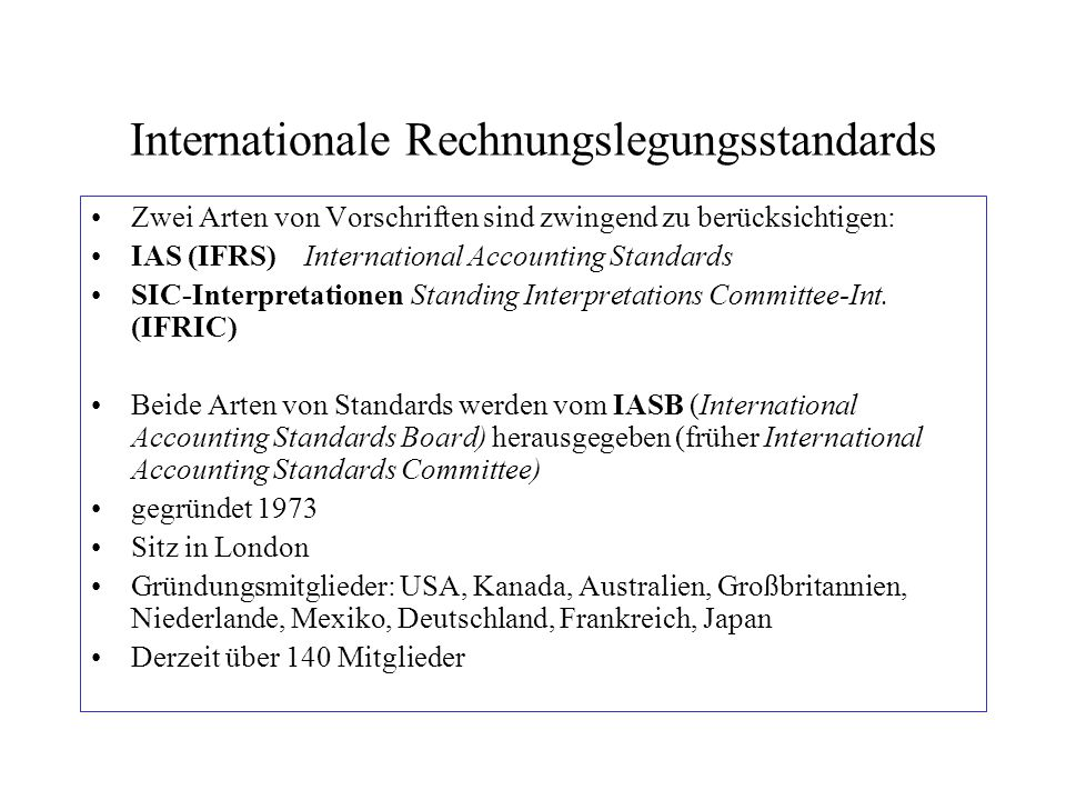 Internationale Rechnungslegungsstandards