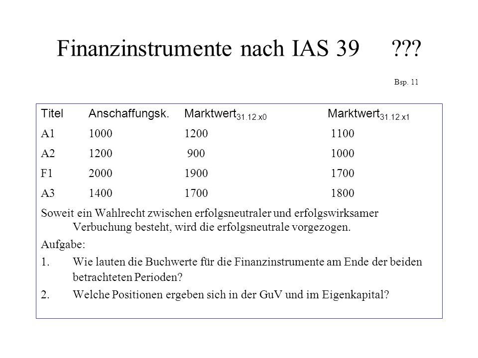 Finanzinstrumente nach IAS 39 Bsp. 11