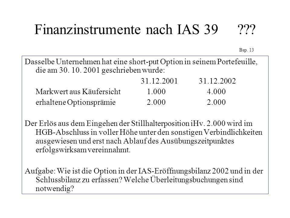 Finanzinstrumente nach IAS 39 Bsp. 13