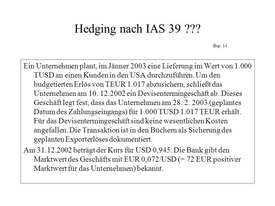 Hedging nach IAS 39 Bsp. 14