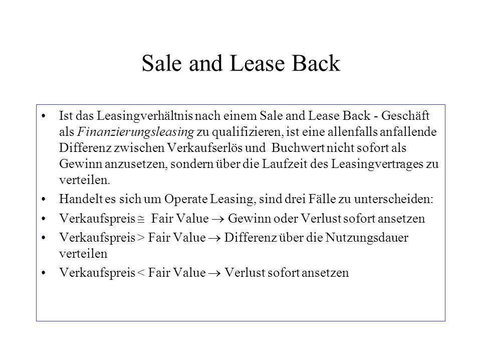 Sale and Lease Back