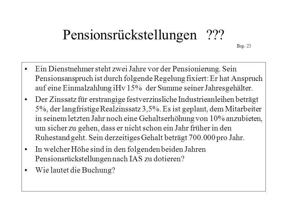 Pensionsrückstellungen Bsp. 25