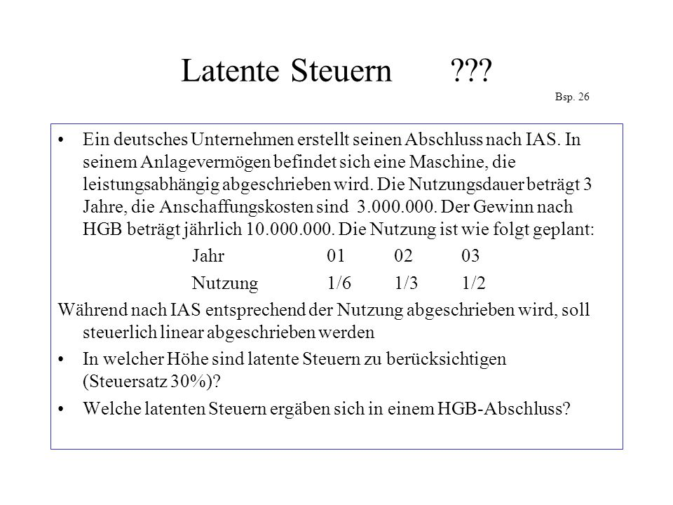 Latente Steuern Bsp. 26