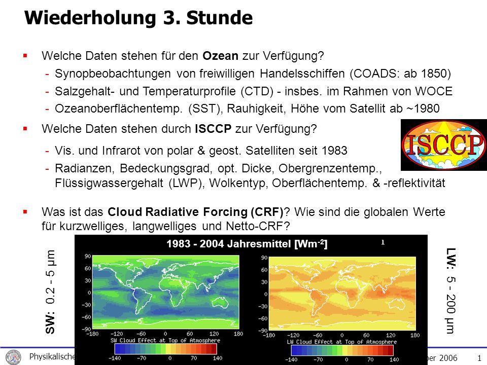 Wiederholung 3. Stunde Welche Daten stehen für den Ozean zur Verfügung Welche Daten stehen durch ISCCP zur Verfügung