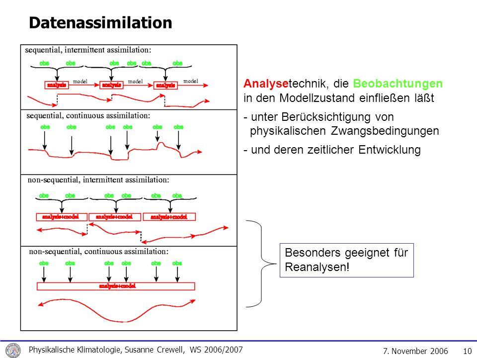 Datenassimilation Analysetechnik, die Beobachtungen in den Modellzustand einfließen läßt.