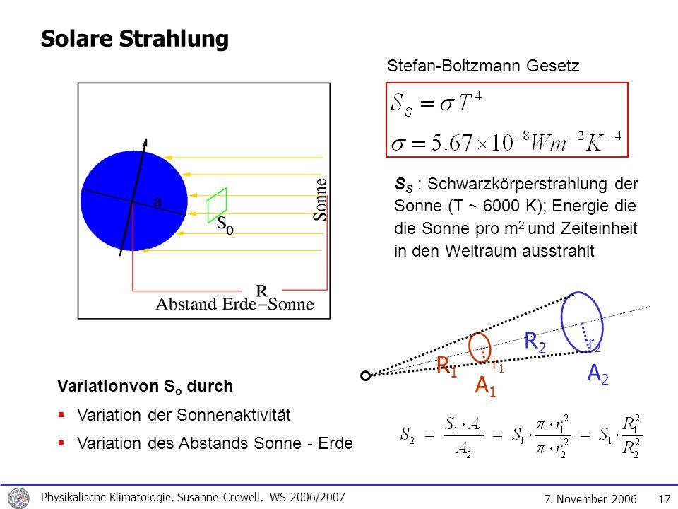 Solare Strahlung R2 R1 A2 A1 Stefan-Boltzmann Gesetz