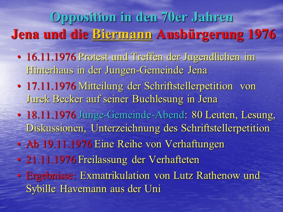 Opposition in den 70er Jahren Jena und die Biermann Ausbürgerung 1976
