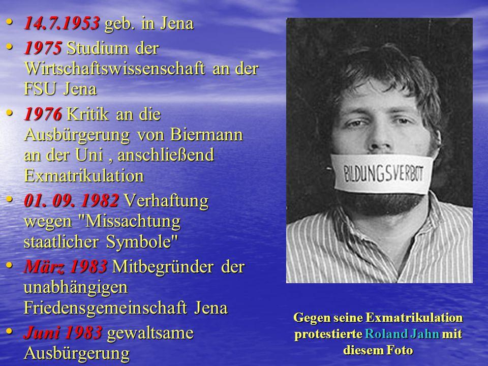 Gegen seine Exmatrikulation protestierte Roland Jahn mit diesem Foto