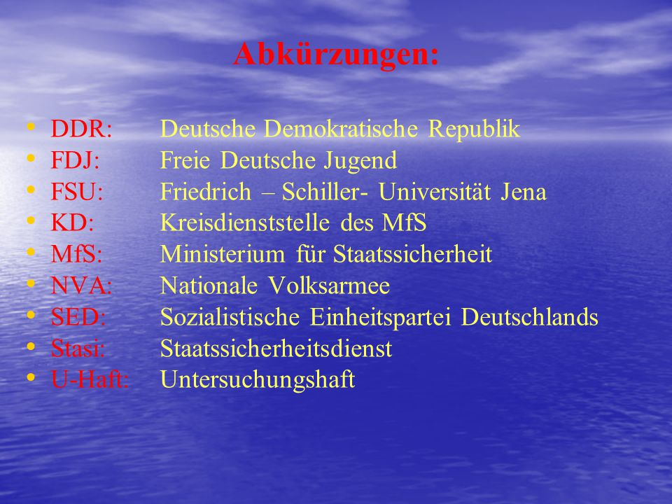 Abkürzungen: DDR: Deutsche Demokratische Republik